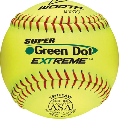 "Worth ASA Super Green Dot 11"" 44/375 Composite Slowpitch Softballs: YS11RCAXT"