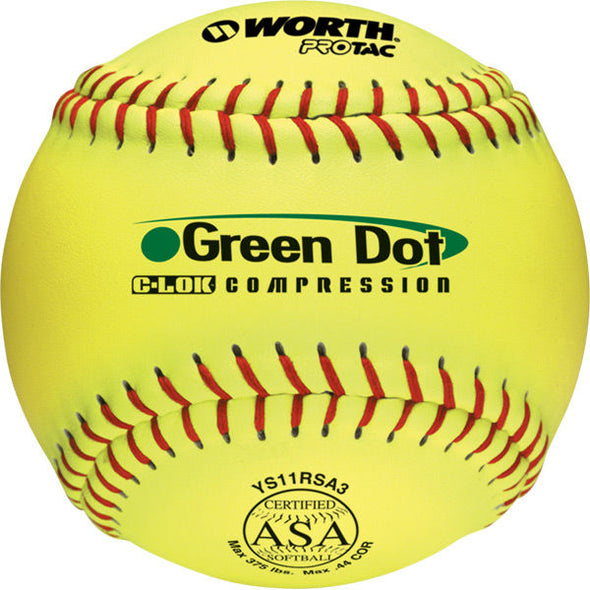 "Worth ASA Green Dot 11"" 44/375 Synthetic Slowpitch Softballs: YS11RSA3"