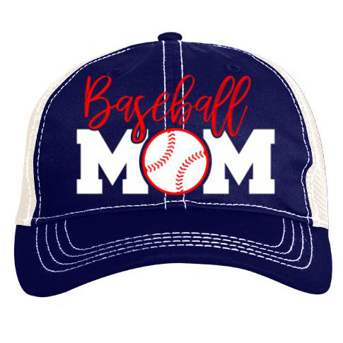 Pacific Headwear Baseball Mom Vintage Trucker Snapback Hat: V67NW