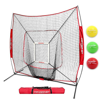 PowerNet 7' x 7' DLX 2.0 Baseball Softball Hitting Net & 3 Weighted Balls: 1009-123