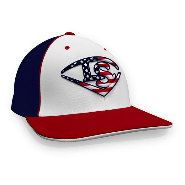 Louisville Slugger Stars & Stripes Flex Fit Hat: TRKRWUSA