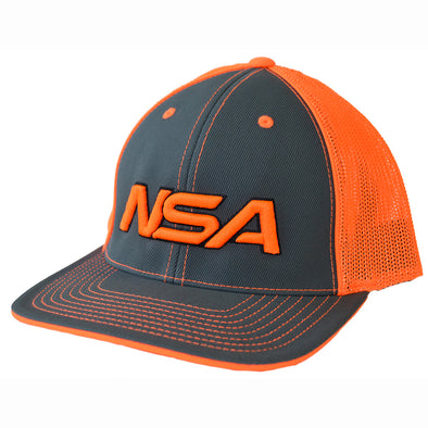 Pacific Headwear NSA Neon Orange / Graphite Flex Fit Hat: 404M-NOGR