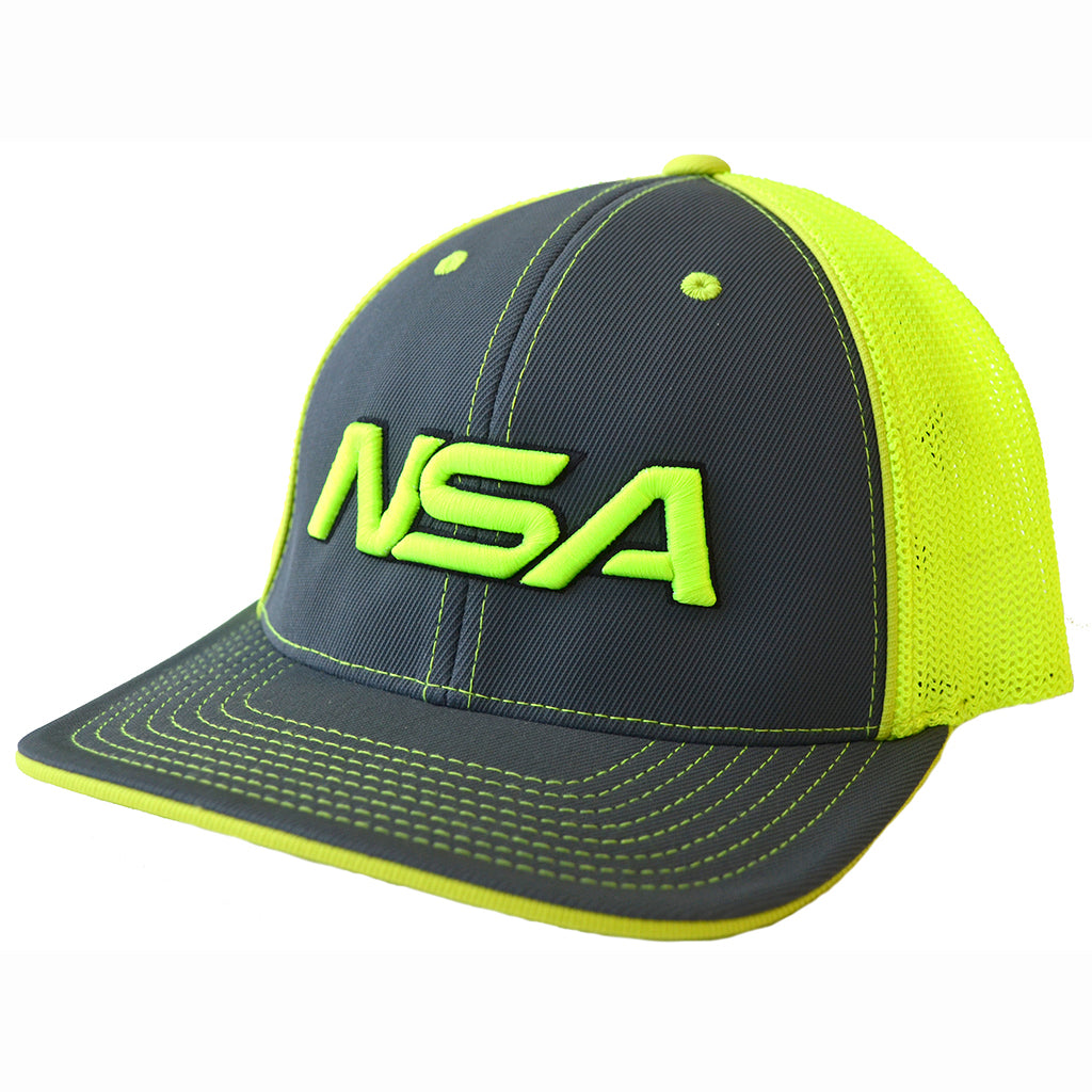 Pacific Headwear NSA Neon Yellow   Graphite Flex Fit Hat  404M-NYGR ... 9fc29e2367d