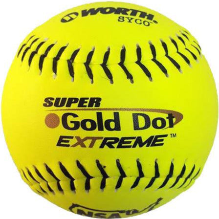 "Worth NSA Super Gold Dot Extreme ICON 12"" 44/400 Composite Slowpitch Softballs: NI12CY"