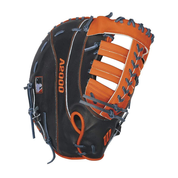 Model: WTA20LB16MC24GM  The A2000 MC24 GM was designed by Aso and Detroit Tiger MVP, Miguel Cabrera. This pattern is an updated version of the A2000 2800 made especially for Miguel and features a wider post, a signature lace pattern along the back of the web, and a wider web top to lock the ball in the pocket. Made with navy and orange A2000 Pro Stock Leather, this glove will be ultra durable and give you what you need at first base.