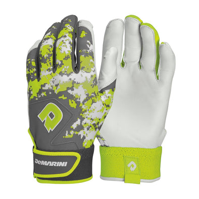 Model: WTD6113  Rock the DeMarini Digi Camo Batting Glove all season long. The Digi Camo Batting Glove offers a classic feel with relief along the knuckle bends and a smooth leather palm for supreme comfort. You won't blend in wearing these camo gloves.      Smooth sheep skin leather palm for supreme comfort     4-Way Stretch with ribbed backhand     Pro Grade Wrist Strap that wicks away moisture     Silicon Overlay Backhand for added structure