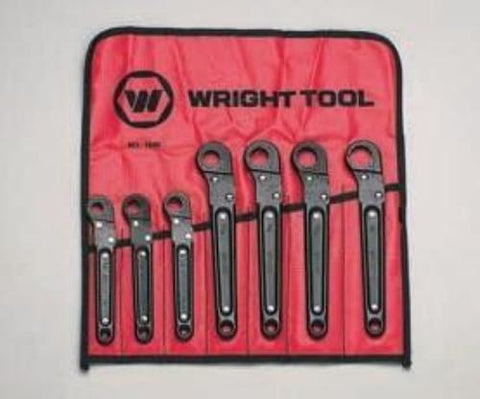 "Ratcheting Flare Nut Wrench Set 7Pcs -3/8"" thru 3/4""-Wright Tools"