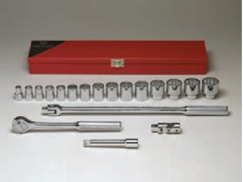 "1/2"" Dr., 19 Pc. Socket Set, 3/8"" - 1-1/4""-Wright Tools"