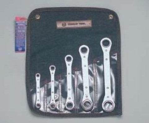 Ratchet Box Wrench Set of 5 (9381, 82, 83, 84, 86 w/Denim Tool Roll-Wright Tools