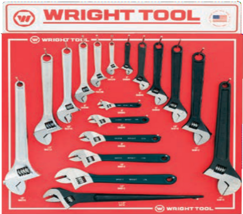 18 Pc. Adjustable Wrenches-Wright Tools