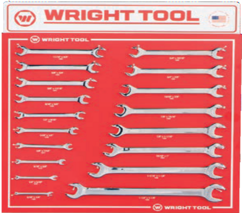 18 Pc. Fractional Open End Wrenches-Wright Tools