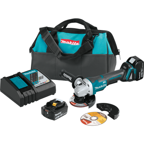 "18V LXT® Lithium‑Ion Brushless Cordless 4‑1/2"" / 5"" Paddle Switch Cut‑Off/Angle Grinder Kit, with Electric Brake (5.0Ah) - XAG11T-Makita"