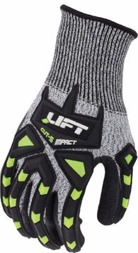 CUT 5 IMPACT, HiViz TPR's, salt and pepper FIBERWIRE Liner, Crinkled Latex Palm EN388 3544-Lift Safety