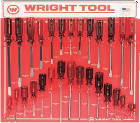 28 Pc. Screwdrivers - Jumbo Three Flute Ergonomic Handle-Wright Tools