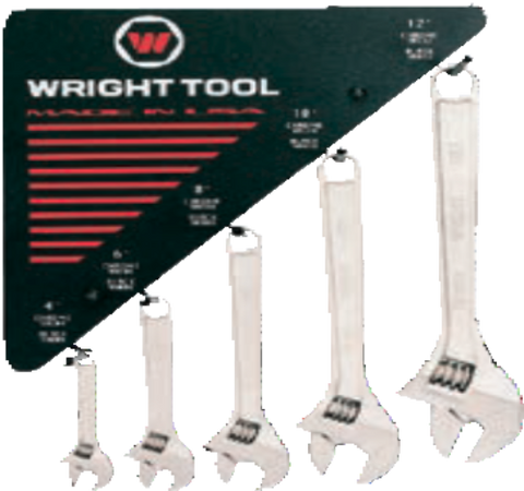 30 Pc. Adjustable Wrenches Chrome, 6 each size-Wright Tools