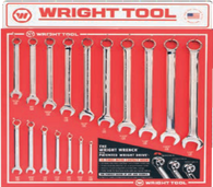 17 Pc. Fractional Combination Wrenches - Full Polish Finish-Wright Tools