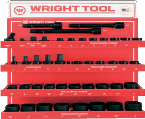 "44 Pc. 3/4"" Dr. 6 & 12 Pt. Standard Impact Sockets & Attachments-Wright Tools"