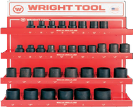 "33 Pc. 3/4"" Dr. 6 & 12 Pt. Deep Impact Sockets-Wright Tools"