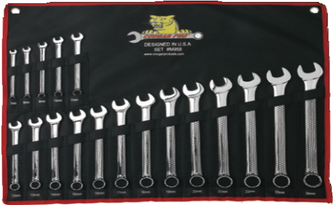 18 Pc. Full Polish Combination Wrench Set Metric (7mm to 24mm)-Cougar Pro