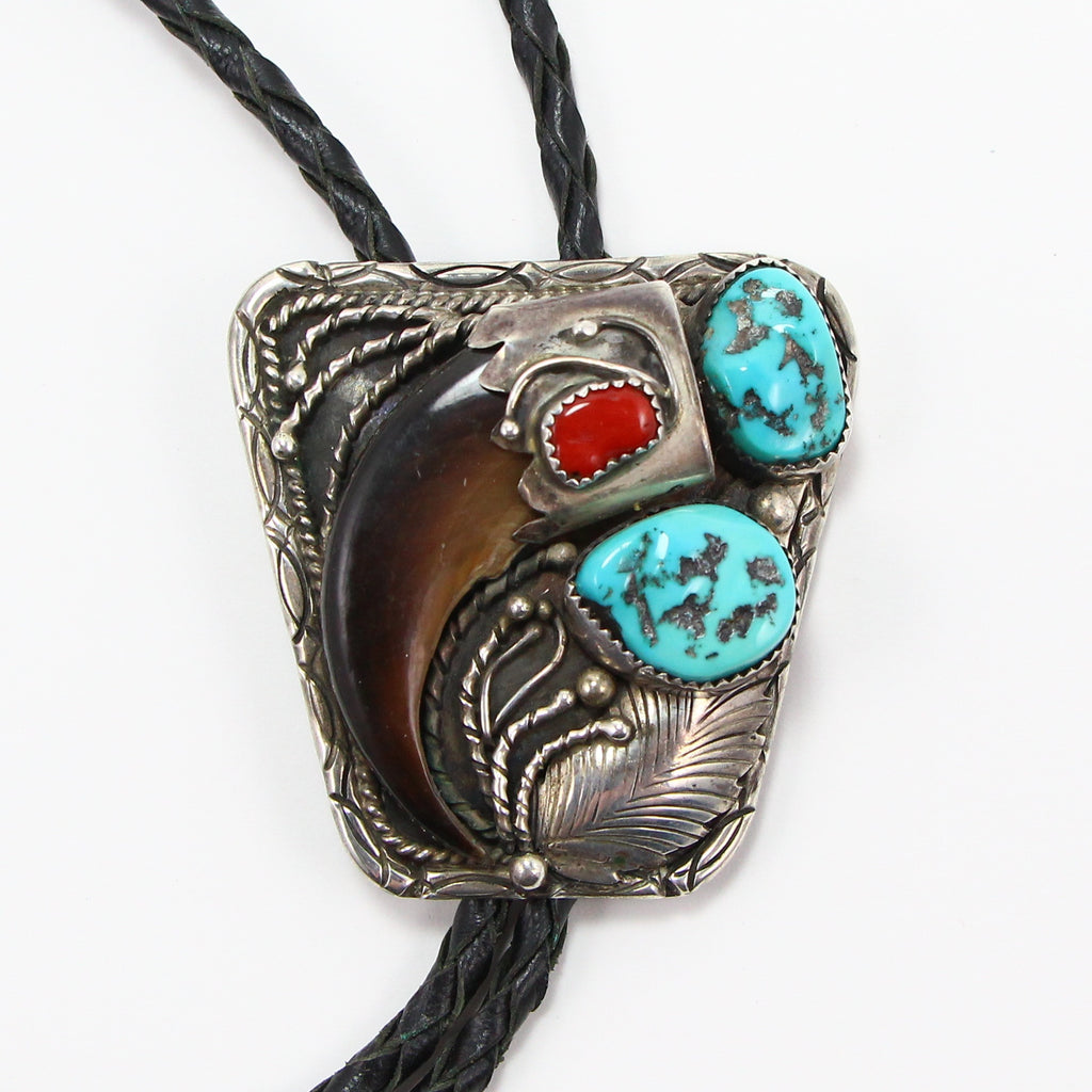NAVAJO BEAR CLAW TURQUOISE AND CORAL BOLO TIE-Necklaces-BRETHREN + SISTREN