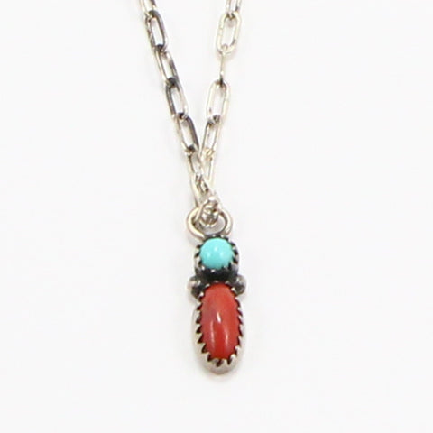 NAVAJO TURQUOISE & CORAL NECKLACE-Necklaces-BRETHREN + SISTREN