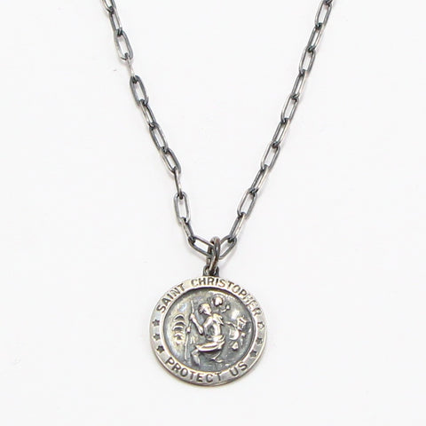 "ST. CHRISTOPHER ""PROTECT US"" MEDAL NECKLACE-Necklaces-BRETHREN + SISTREN"
