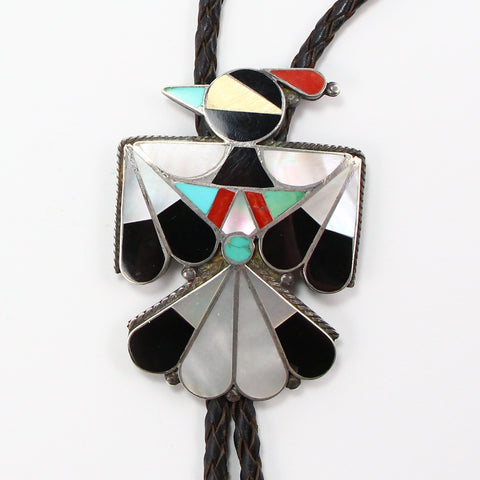 ZUNI TURQUOISE, CORAL & ONYX INLAY PEYOTE BIRD BOLO TIE-Necklaces-BRETHREN + SISTREN