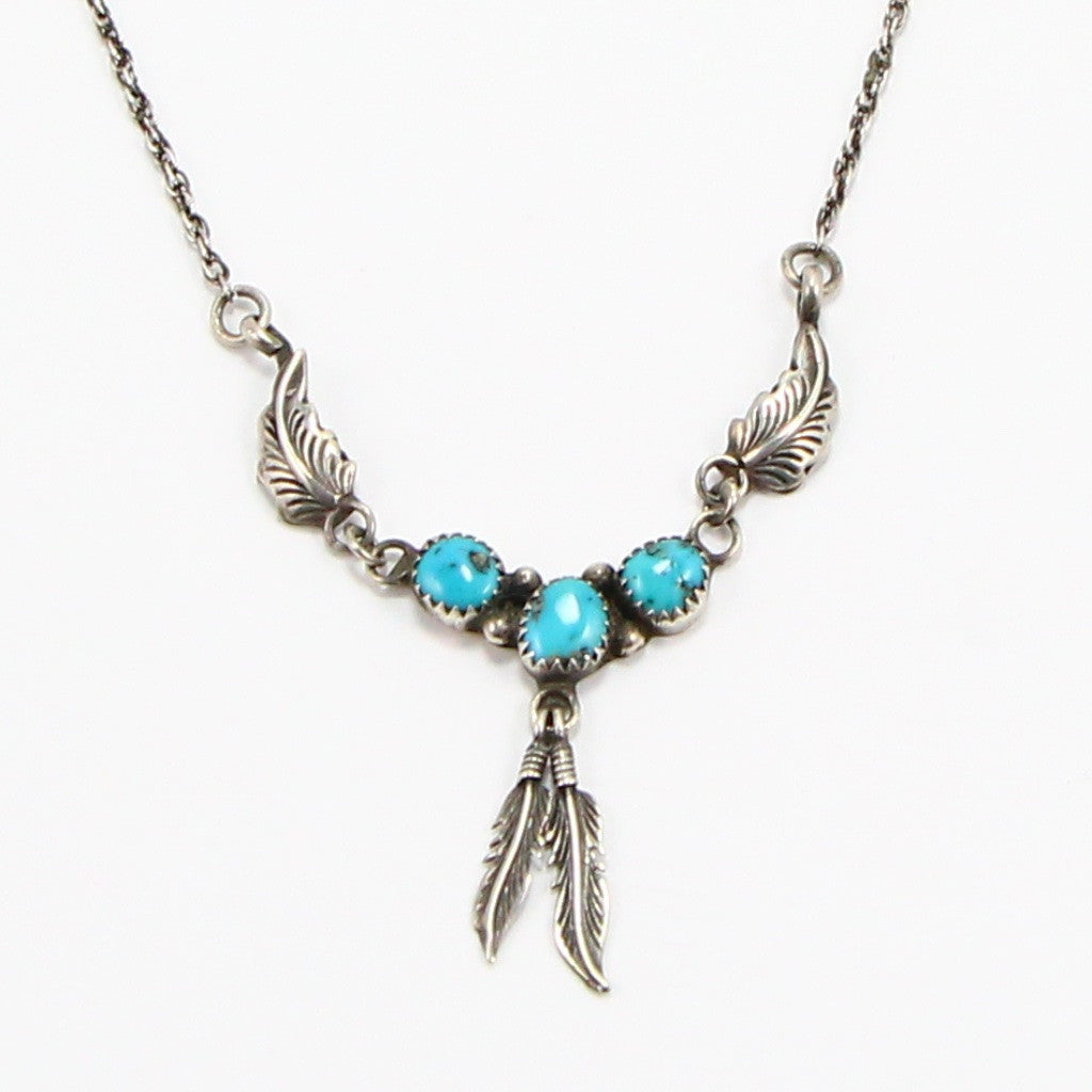 NAVAJO TURQUOISE FEATHER NECKLACE-Necklaces-BRETHREN + SISTREN