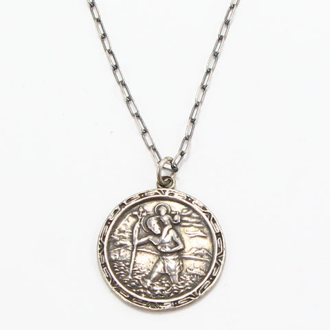 ST. CHRISTOPHER RELIGIOUS MEDAL NECKLACE-Necklaces-BRETHREN + SISTREN