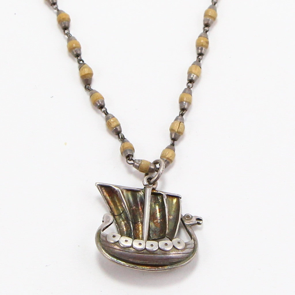NORWEGIAN VIKING SHIP NECKLACE-Necklaces-BRETHREN + SISTREN
