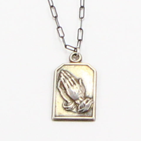 SERENITY PRAYER, PRAYING HANDS NECKLACE-Necklaces-BRETHREN + SISTREN