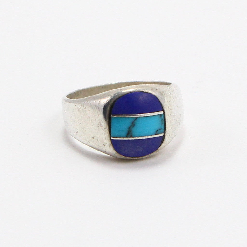 MEXICAN TURQUOISE & LAPIS INLAY RING - SIZE 9-Ring-BRETHREN + SISTREN