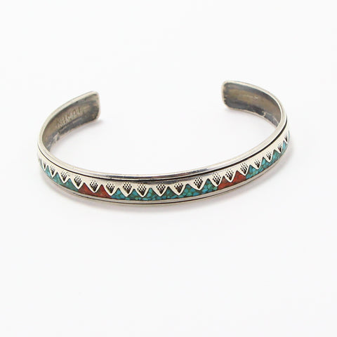 NAVAJO CRUSHED TURQUOISE & CORAL CUFF-Bracelet-BRETHREN + SISTREN
