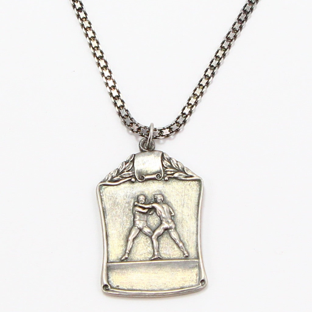 1940's WRESTLING MEDAL NECKLACE-Necklaces-BRETHREN + SISTREN