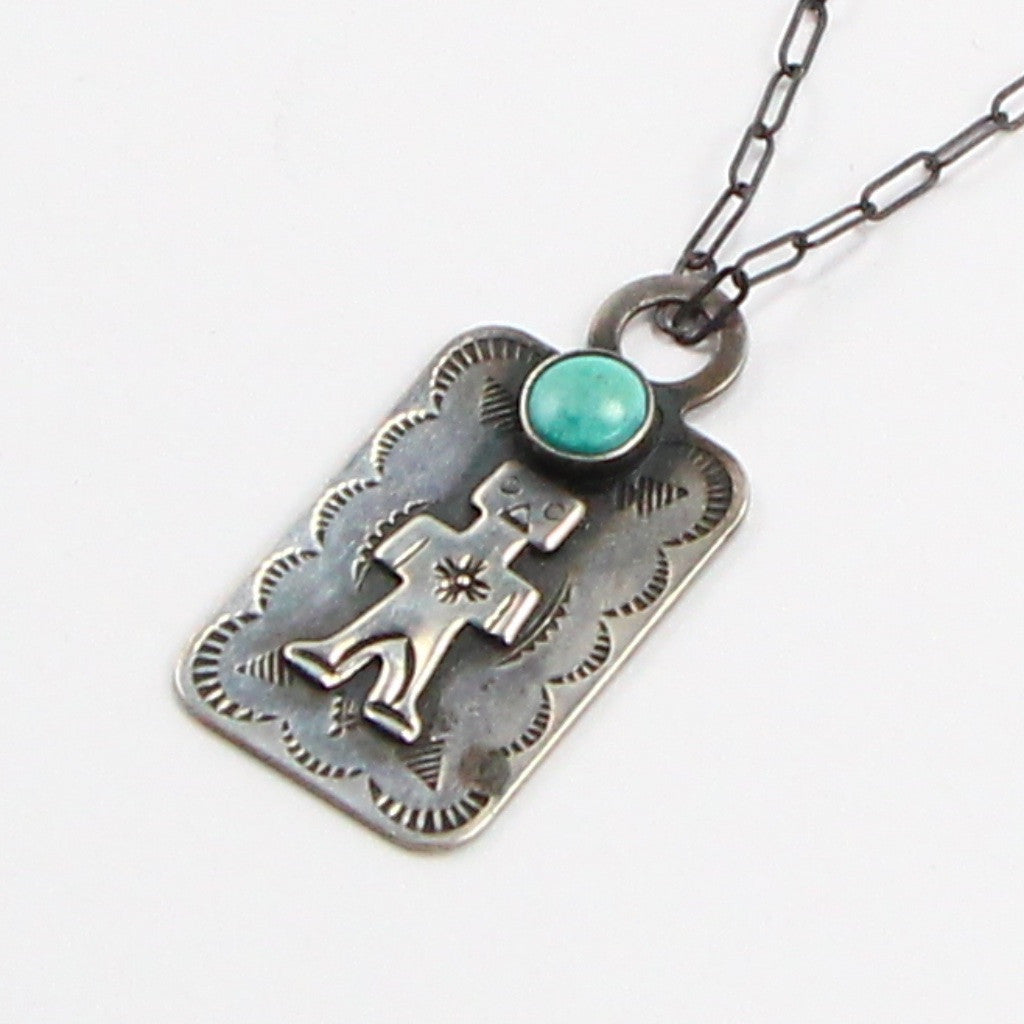 FRED HARVEY ERA STAMPED TURQUOISE NECKLACE-Necklaces-BRETHREN + SISTREN