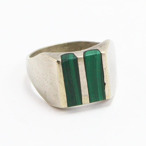 MEXICAN MALACHITE INLAY RING - SIZE 13-Ring-BRETHREN + SISTREN