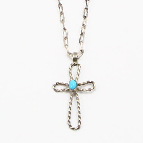 NAVAJO TURQUOISE CROSS NECKLACE-Necklaces-BRETHREN + SISTREN