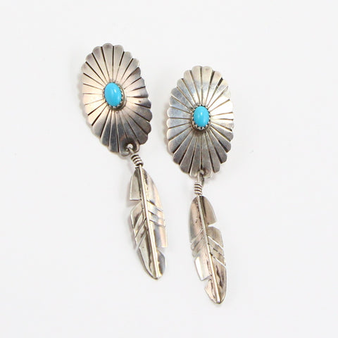 NAVAJO TURQUOISE FEATHER EARRINGS-Earrings-BRETHREN + SISTREN