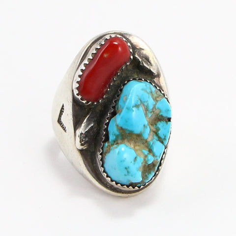 NAVAJO TURQUOISE & CORAL RING - SIZE 10.75-Ring-BRETHREN + SISTREN