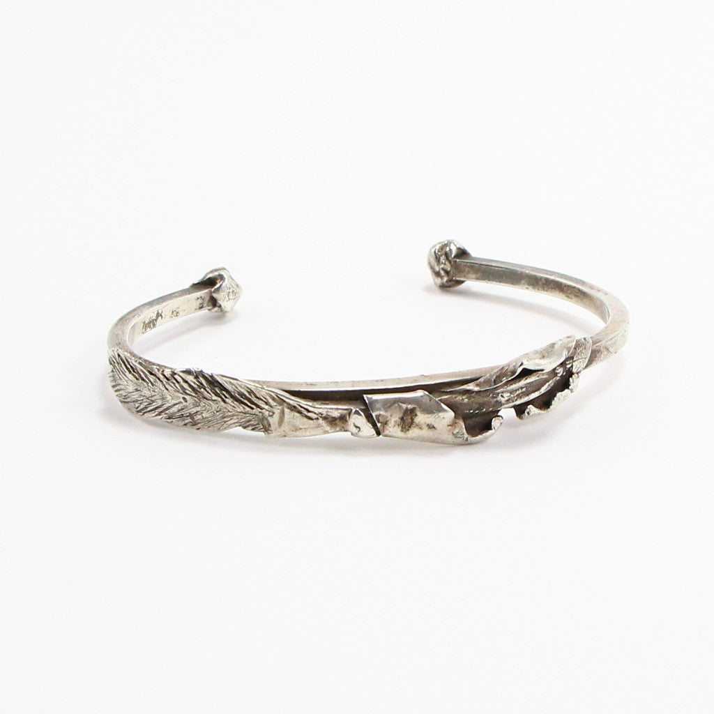 STERLING SILVER FEATHER DETAIL CUFF-Bracelet-BRETHREN + SISTREN