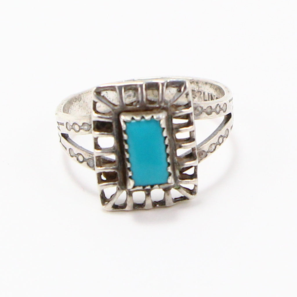 TURQUOISE HAND STAMPED RING - SIZE 6-Ring-BRETHREN + SISTREN