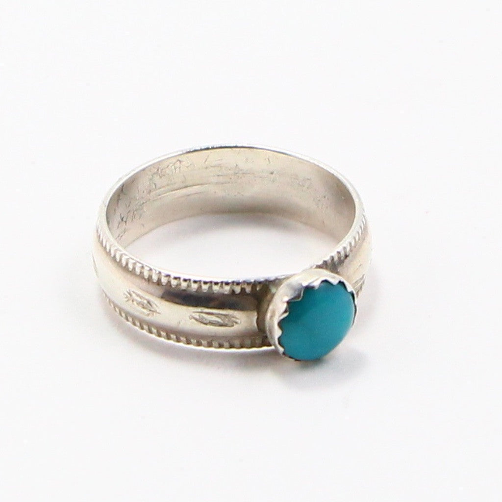 NAVAJO TURQUOISE HAND STAMPED RING - SIZE 7-Ring-BRETHREN + SISTREN