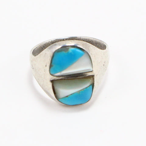 TURQUOISE AND MOTHER OF PEARL RING - SIZE 7.25-Ring-BRETHREN + SISTREN