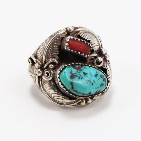 NAVAJO TURQUOISE & CORAL RING - SIZE 10-Ring-BRETHREN + SISTREN