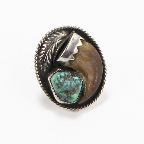 NAVAJO TURQUOISE & CLAW RING - SIZE 6.5-Ring-BRETHREN + SISTREN