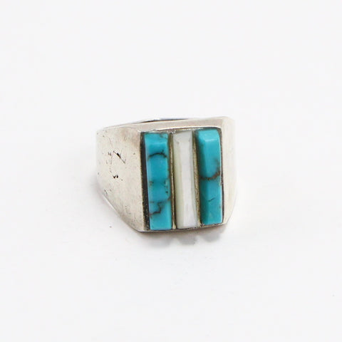 ZUNI TURQUOISE & MOTHER OF PEARL RING - SIZE 11.25-Ring-BRETHREN + SISTREN