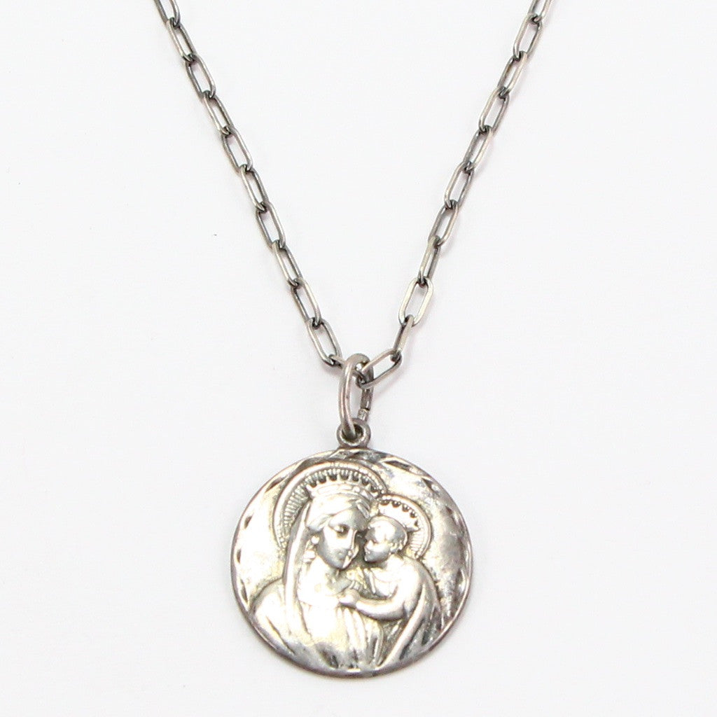 MADONNA & CHILD RELIGIOUS MEDAL NECKLACE-Necklaces-BRETHREN + SISTREN