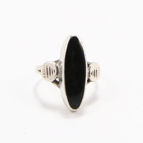 ELONGATED ONYX RING - SIZE 4.75-Ring-BRETHREN + SISTREN