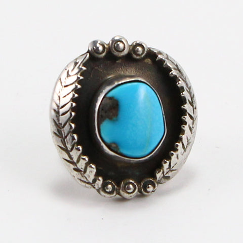 NAVAJO FEATHER SHADOWBOX TURQUOISE RING - SIZE 4-Ring-BRETHREN + SISTREN