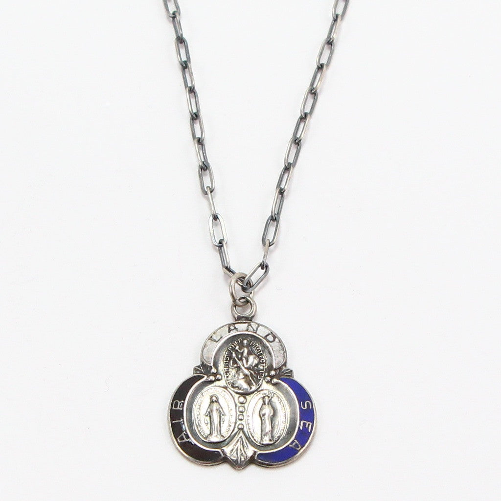 "LAND SEA AIR ""ST. CHRISTOPHER"" MEDAL NECKLACE-Necklaces-BRETHREN + SISTREN"